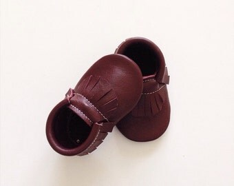 Oxblood Leather Baby Moccasins