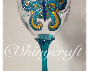 Handpainted wine glass with butterfly design, valentines, birthday, gift, Mother's Day, mum, hand painted, blue butterfly, present