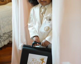 Gold Ring Security Briefcase with Sunglasses -- Ring Bearer Gift, Pillow Alternative, Ring Bearer Box