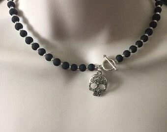Day of the dead choker,skull choker,black rubber bead choker,sugar skull choker,gothic jewellery,black choker/short necklace