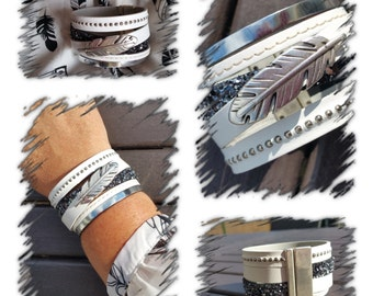 "Cuff leather ""Feather"" collection"