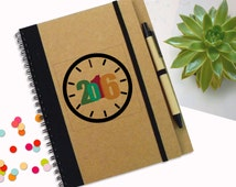 2016 Notebook, New Year Notebook, Designed Journal, Gift Notebook, Custom Notebook, brown kraft journal, Spiral Notebook, Writing Notepad