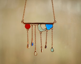Rain Necklace. Airy necklace. Lucid necklace. Drops necklace. Japaneese necklace.