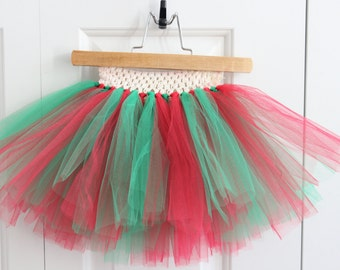 Christmas Red and Green Tutu with Crochet Headband Waist