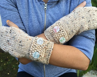 Fingerless Gloves / Mittens - With hand drawn Hunger Games inspired buttons