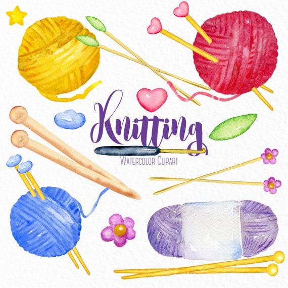 Knitting Hands Clipart : Knitting watercolor clip art hand drawn yarn needles