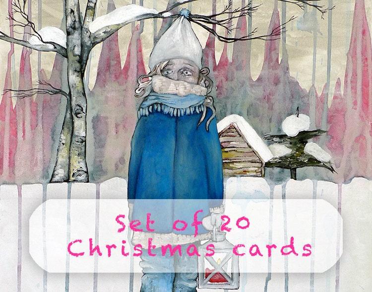 Cute christmas cards set of 20 scandinavian folk art xmas card share this m4hsunfo