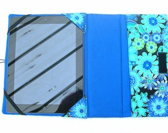IPad cover with stand. Fabric iPad cover. IPad 3 cover. Fabric iPad case. Floral iPad case.  Blue iPad sleeve. Padded iPad case