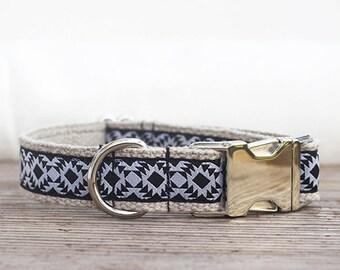 "Black and white hemp dog collar 1"" (25mm) wide, chic dog collar, metal buckle"