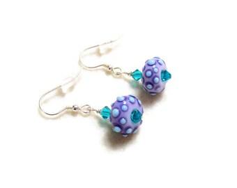 Purple Lampwork and Swarovski Earrings, Sterling Silver Earrings, Dotty Earrings, Glass Earrings,Lilac Earrings,