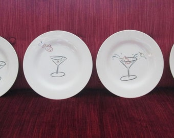 Goldfish in a Martini Hors D'Oeuvres Plates/ Set of Four/Pottery Barn  #17088
