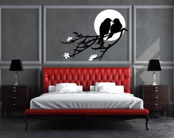 Two Love Birds on Tree Branches & Moon/Sun Removable Wall Art Decor Decal Vinyl Sticker