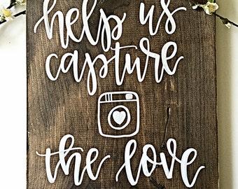 Instagram Wedding Sign | Hashtag Wedding Sign | Wood Wedding Sign | Rustic Wedding Decor | Hashtag Sign | Help Us Capture The Love Sign