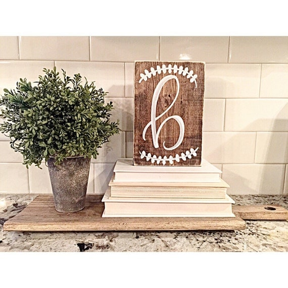 Wood sign rustic home decor initial monogram last for Initial decorations for home