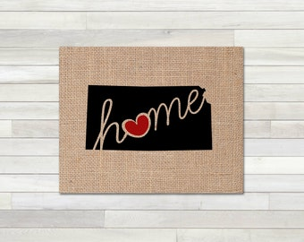 "Kansas (KS) ""Love"" or ""Home"" Burlap or Canvas Paper State Silhouette Wall Art Print / Home Decor (Free Shipping)"
