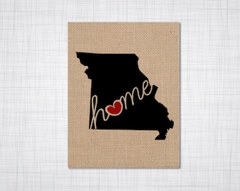 "Missouri (MO) ""Love"" or ""Home"" Burlap or Canvas Paper State Silhouette Wall Art Print / Home Decor (Free Shipping)"