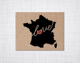 France Love - Burlap or Canvas Paper State Silhouette Wall Art Print / Home Decor (Free Shipping)