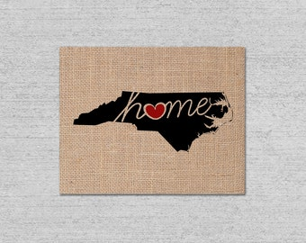 "North Carolina (NC) ""Love"" or ""Home"" Burlap or Canvas Paper State Silhouette Wall Art Print / Home Decor (Free Shipping)"