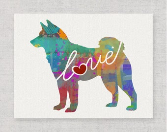 Shiba Inu Love - A Colorful Watercolor Print for Dog Lovers - Dog Breed Gift - Can Be Personalized With Name - Pet Memorial - Pet Loss Gift