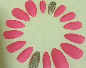 Hot Pink Matte Stiletto Nails- Acrylic Nails- Artificial Nails- Press on Nails- Glue on Nails- Fake Nails- False Nails- Matte Nails- Barbie