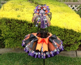 Helloween Sewn RibbonTutu With Hair Bow/With Long Tails, Holiday Tutu, Tutu For Girls Party