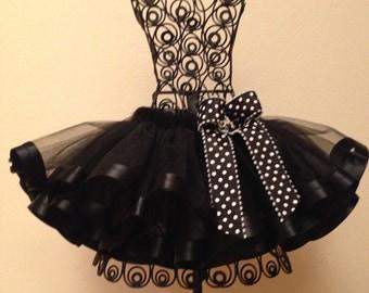 Black Ribbon Tutu, Girls Tutu Dress, Tutu Skirt,
