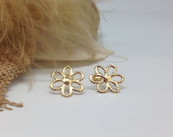 Ear studs 'Flower' gold plated silver