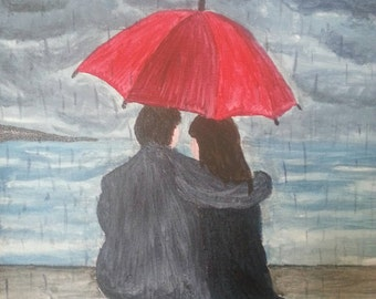 """painting on canvas; """"Lovers in the storm"""""""