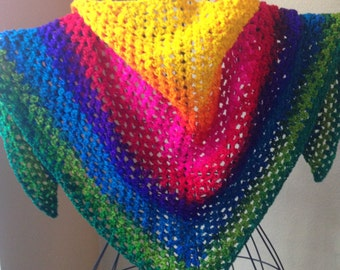 Rainbow Triangular Shawl