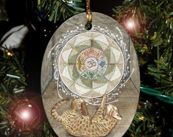 The Wheel (Wheel of Fortune) Mystical Cats Tarot Holiday Ornament