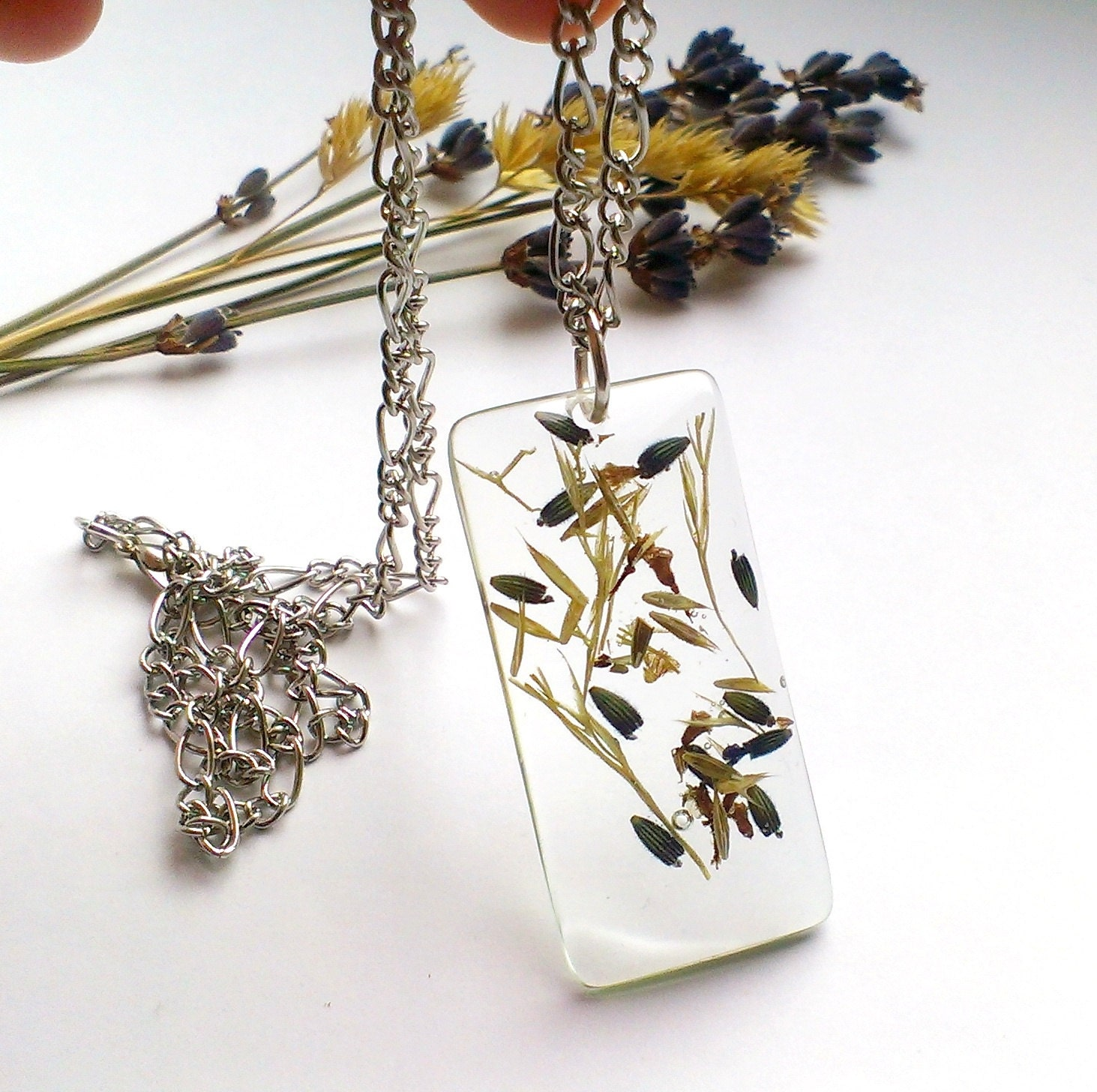 Flower pendant Resin necklace Real flower jewelry Resin by Galiga