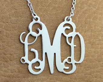 Monogram Necklace -  1 inch Personalized Monogram Necklace - Monogram Necklace - 3 initials monogram