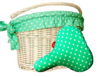 Polka Mint Bicycle Styling Set with White Wicker Basket, Bike Belle