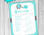 Elephant baby shower games aqua and gray price is right game Printable INSTANT DOWNLOAD UPrint  by greenmelonstudios elephant baby shower