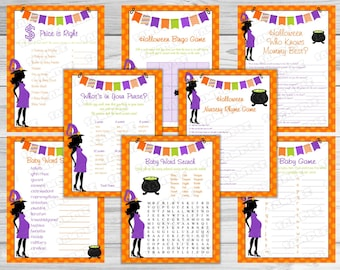 Halloween Baby shower games set of 8 games bundle Printable INSTANT DOWNLOAD  UPrint  by greenmelonstudios halloween witch baby shower