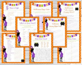 Halloween Baby Shower Games Set Of 8 Games Bundle Printable INSTANT  DOWNLOAD UPrint By Greenmelonstudios Halloween