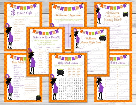 halloween baby shower games set of 8 games bundle printable instant