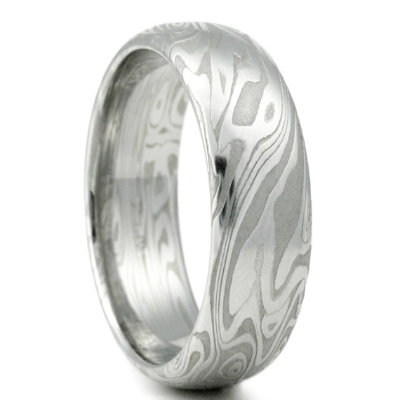 damascus steel ring womens wedding band four pointed