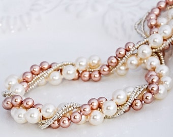 Rose Gold Pearl Necklace Cream Twisted Pearl Jewelry Rose Bridesmaids necklace Chunky Pearl Jewelry Gift for Her Under Blush Bridal Jewelry