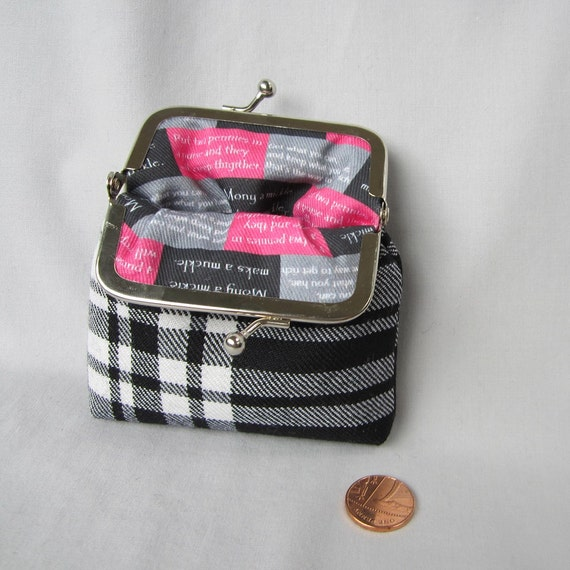 Clan Menzies Black and White  Tartan Coin Purse lined with Scottish Advice about Money Fabric