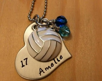 Hand Stamped Personalized Volleyball Necklace - Girls Volleyball Heart Necklace - Volleyball Team Gift - Team Colors - Volleyball Gift