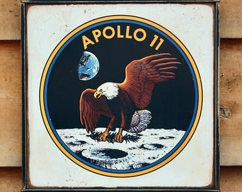Vintage wooden sign 'Apollo 11 Insignia' reproduction sign