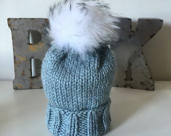 Stone Wooly Hat w. Fur POM POM