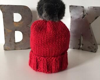 Red Wooly Hat w. POM POM
