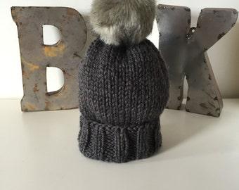 Charcoal Wooly Hat w. Faux Fur POM POM