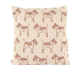 Fox Terrier Knitted Cushion Cover