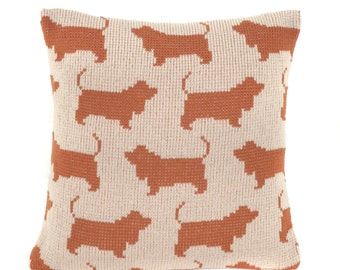 Basset Hound Knitted Cushion Cover
