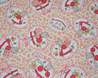 "Japanese Fabric Kokka Sanrio- Marron Cream, Ivory - scrap 10"" x 10"" inches"