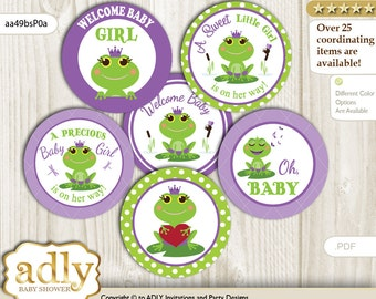 Girl Frog Cupcake Toppers for Baby Shower Printable DIY, favor tags, circles, It's a Girl, Polka - aa49bsP0