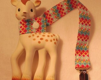 BatesCreates Sophie the Giraffe leash, tether, toy - 100% cotton fabric - topstitched (COLOURED SQUARES)